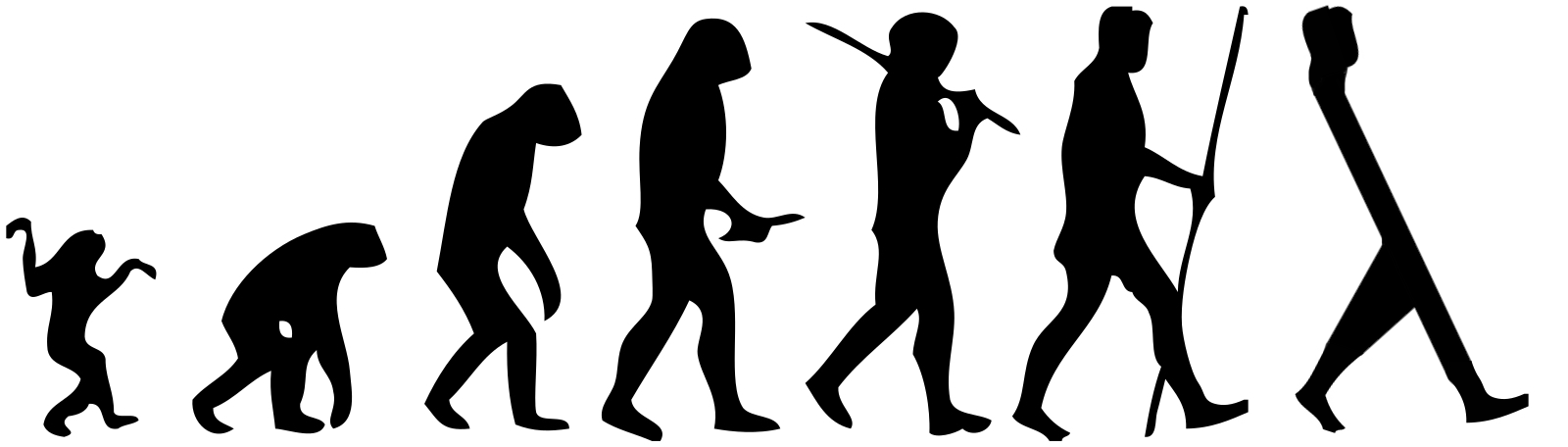 """The evolution of a functional programmer,"" based on Human evolution scheme by M. Garde - Self work (Original by: José-Manuel Benitos), CC BY-SA 3.0"